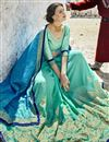 photo of Cyan Color Fancy Fabric Embroidered Party Wear Half And Half Saree