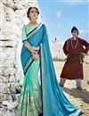 image of Cyan Color Fancy Fabric Embroidered Party Wear Half And Half Saree