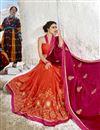 photo of Red Fancy Fabric Sangeet Wear Half And Half Saree With Embroidery