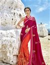 image of Red Fancy Fabric Sangeet Wear Half And Half Saree With Embroidery