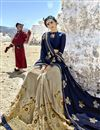 photo of Fancy Fabric Designer Half N Half Saree With Embroidery Work On Cream Color