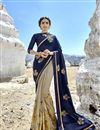 image of Fancy Fabric Designer Half N Half Saree With Embroidery Work On Cream Color