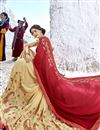 photo of Embroidered Party Wear Half Half Saree In Fancy Fabric Beige Color