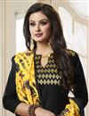 photo of Cotton Fabric Embroidered Casual Party Wear Straight Cut Salwar Suit In Black