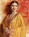 photo of Fancy Fabric Wedding Wear Mustard Designer Saree With Heavy Embroidery