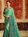 image of Designer Function Wear Art Silk Cyan Saree With Embroidery Work