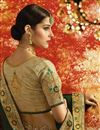 photo of Embroidered Sangeet Ceremony Wear Designer Saree In Dark Green Art Silk