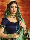 photo of Navy Blue Wedding Wear Georgette Designer Saree With Heavy Embroidery