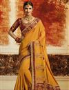 image of Best Selling Function Wear Designer Saree In Mustard Art Silk With Embroidery Work