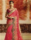 image of Embroidered Sangeet Ceremony Wear Designer Saree In Georgette Pink