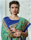 photo of Vibrant Party Wear Cyan Printed Fancy Saree In Art Silk Fabric