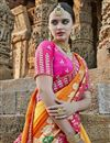 photo of Orange Art Silk Wedding Wear Saree With Embroidery Work