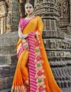 image of Party Wear Orange Embroidery Work On Art Silk Saree