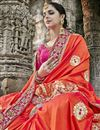 photo of Red Color Art Silk Wedding Wear Saree With Embroidery Work