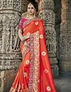 image of Red Color Art Silk Wedding Wear Saree With Embroidery Work