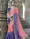 image of Embroidery Designs On Art Silk Wedding Wear Saree In Pink