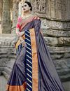 image of Embroidery Designs On Art Silk Wedding Wear Saree In Navy Blue