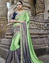image of Wedding Special Embroidery Work On Sangeet Wear Art Silk Designer Saree In Sea Green