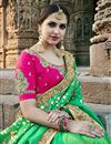photo of Embroidery Work On Sangeet Wear Art Silk Designer Saree In Green