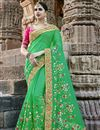 image of Wedding Special Embroidery On Green Occasion Wear Saree In Art Silk