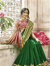 photo of Dark Green Function Wear Weaving Work Saree In Cotton Silk