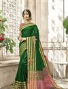 image of Dark Green Function Wear Weaving Work Saree In Cotton Silk