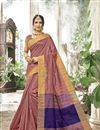 image of Cotton Silk Function Wear Pink Saree With Weaving Work