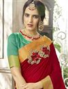 photo of Cotton Silk Red Traditional Saree With Weaving Work