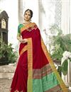 image of Cotton Silk Red Traditional Saree With Weaving Work