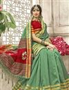 photo of Sea Green Designer Cotton Silk Traditional Saree With Weaving Work