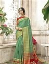 image of Sea Green Designer Cotton Silk Traditional Saree With Weaving Work