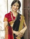 photo of Function Wear Black Cotton Silk Designer Saree With Weaving Work