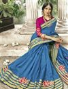 photo of Cotton Silk Designer Sky Blue Traditional Saree With Weaving Work