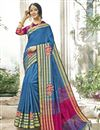 image of Cotton Silk Designer Sky Blue Traditional Saree With Weaving Work