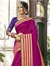 photo of Cotton Silk Designer Saree In Rani Color With Weaving Work