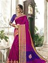 image of Cotton Silk Designer Saree In Rani Color With Weaving Work