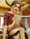 photo of Festive Wear Designer Georgette And Chiffon Brown Saree With Embroidery Work