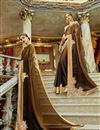 image of Festive Wear Designer Georgette And Chiffon Brown Saree With Embroidery Work