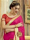 photo of Georgette And Chiffon Designer Sangeet Wear Rani Color Saree With Embroidery Work