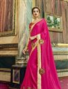 image of Georgette And Chiffon Designer Sangeet Wear Rani Color Saree With Embroidery Work