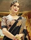 photo of Black Georgette And Chiffon Function Wear Embroidered Fancy Saree
