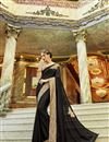 image of Black Georgette And Chiffon Function Wear Embroidered Fancy Saree