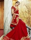 photo of Function Wear Georgette And Chiffon Red Designer Saree With Embroidery Work