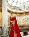 image of Function Wear Georgette And Chiffon Red Designer Saree With Embroidery Work