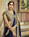 photo of Designer Embroidered Fancy Saree In Georgette And Chiffon Navy Blue