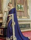 image of Designer Embroidered Fancy Saree In Georgette And Chiffon Navy Blue