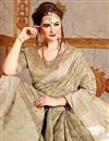 photo of Beautiful Printed Fancy Saree In Cream Bhagalpuri Fabric