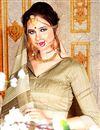 photo of Fancy Cream Printed Casual Wear Saree In Bhagalpuri Fabric