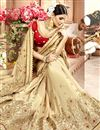 photo of Embroidery Work Beige Color Chanderi Silk Function Wear Saree