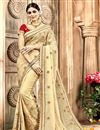 image of Embroidery Work Beige Color Chanderi Silk Function Wear Saree